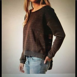Gilded Intent plaid back sweatshirt